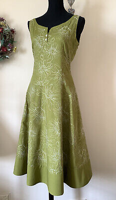 £7.50 • Buy Laura Ashley Summer Dress 12 Olive Green Cotton With White Floral Embroidery VGC