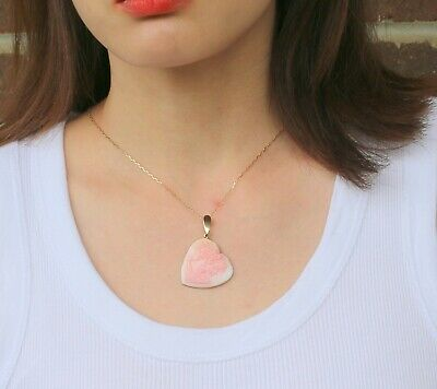 $236.30 • Buy M+M Scognamiglio Italy Pink Shell Cameo 14K Yellow Gold Heart Pendant W/ Box