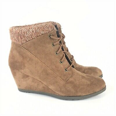 £24.78 • Buy Madden Girl Courrtne Womens Ankle Boots Brown Wedge Knit Cuff Lace Up 8.5
