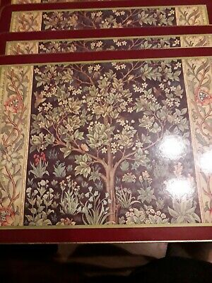 £9.99 • Buy Harrods William Morris Tapestry Cloverleaf Placemats X6 Boxed Preowned