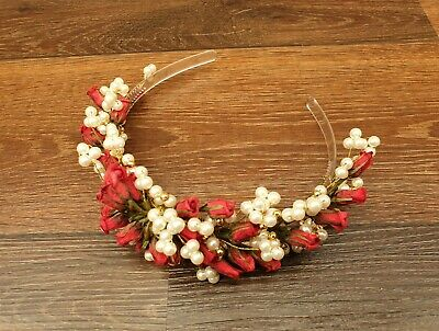 £7.99 • Buy Lovely Boxed Fake Pearl & Red Rose Bridal Headwear Tiara By Susanne
