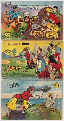 £2.12 • Buy 3 Leap Year Comic Postcards The Trap & The Man Hunt ,1908