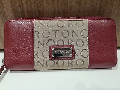 AU35 • Buy Oroton Signature Leather Zip Around Wallet - Red/brown - As New