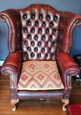 £225 • Buy Oxblood Chesterfield Style Wing Back Chair, Library, Study, Vintage, Office