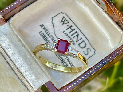 £345 • Buy 18ct Yellow Gold Vintage 0.30ct Ruby And Diamond Trilogy Ring  SIZE P