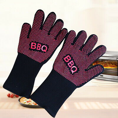 £6.45 • Buy Heat Proof Anti-scalding Mitt Resistant Silicone Kitchen Oven Gloves Cooking BBQ