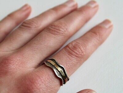£25 • Buy Sterling Silver Fidget Spinning Ring With Gold / Brass Band