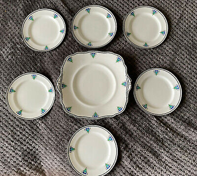 £0.99 • Buy 6 X Paragon/Star China Art Deco Tea Plates And Large Cake/bread Plate (7)