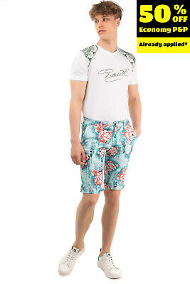£0.99 • Buy FRANKLIN & MARSHALL Chino Shorts Size 28 Stretch Floral Zip Fly Skinny Fit