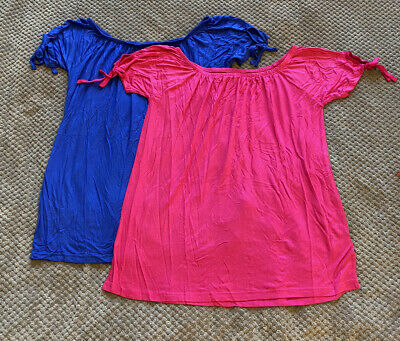 £10 • Buy Studio Pack Of 2 Bright Pink And Blue Boat Neck Tie Sleave T-shirts UK16/18 BNNW