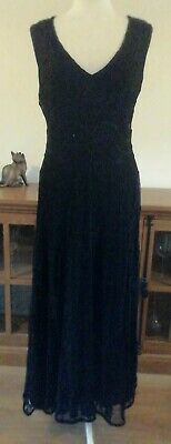 £10 • Buy Phase Eight Size 16 Black Lined Maxi Evening Dress Stretchy Summer Party V Neck