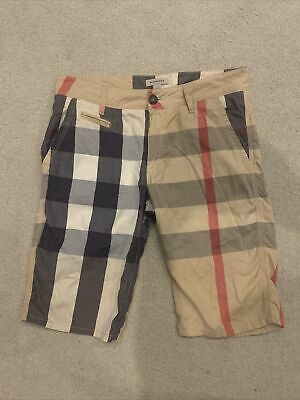 £49.99 • Buy Boys Burberry Designer Chino Smart Shorts Checked Age 14 Excellent