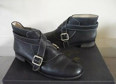 £39.99 • Buy F Troupe Boots Ankle Boots Shoes Buckle Strap  Black Leather Uk 5/5.5 Vgc