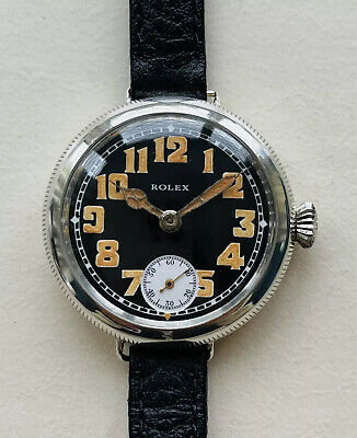 £2999 • Buy Very Rare Vintage & Old 1916 Rolex Black Heart Military Trench Men's Watch + Box
