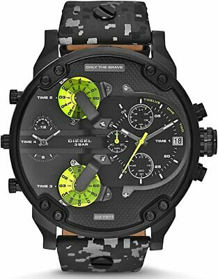 $132 • Buy Diesel DZ7311 Mr Daddy Black Dial Multicolor Leather Band 57mm Men's Watch
