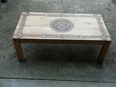 AU380.04 • Buy Oak Coffee Table With Celtic Pyrography Design - Can Be Personalised
