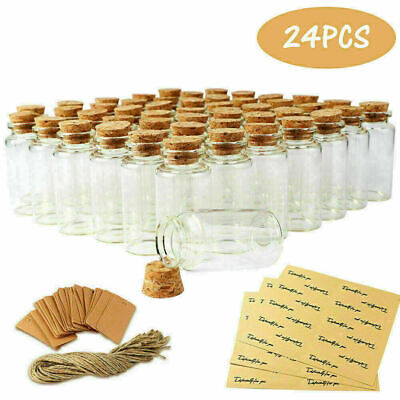 £10.98 • Buy 24Pcs Clear Glass Bottles With Cork Stoppers Mini Small Jars Vials Wedding Favor