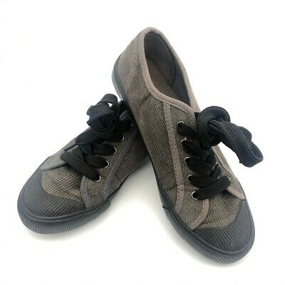 £1.99 • Buy Black & Grey Flat Comfy Pumps, Trainers Jumbo Lace, Cord & Rubber, Size 2 - 3