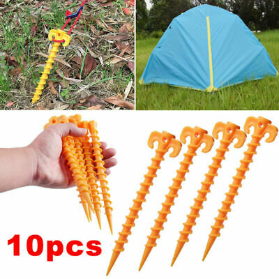 £5.94 • Buy 10x Nails Outdoor Camping Tarp Spiral Plastic Ground Screw Tent Pegs Stakes