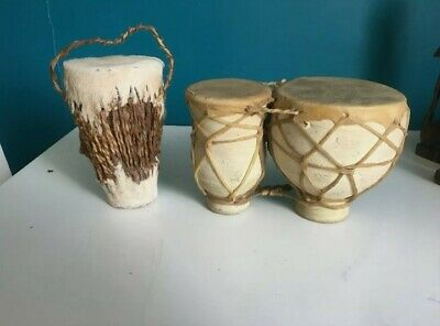 £15 • Buy African Lot Vintage Bongo Drums Clay Hand Made Animal Goat Skin And Another