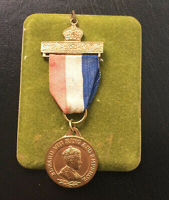 £20 • Buy  E755 - King Edward VIII Coronation Crowned Medal 1937 With Ribbon