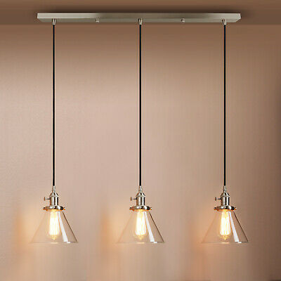 £105.90 • Buy INDUSTRIAL CLUSTER Of 3 PENDANT LIGHT FUNNEL CLEAR GLASS SHADE CEILING LAMP