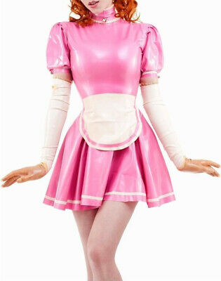 $25.91 • Buy Latex Dresses Rubber Club Pink Sexy Cosplay Maid Skirts With Apron 0.4mm S-XXL