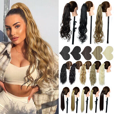 £7.69 • Buy Wrap Around Ponytail Hair Extensions Curly Straight Body Wave Blonde Pony Tail