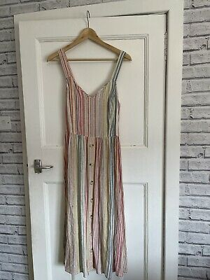 £6.50 • Buy New Look Ladies Millie Stripe Button Front Midi Dress Size 12 RRP £25.99 💕