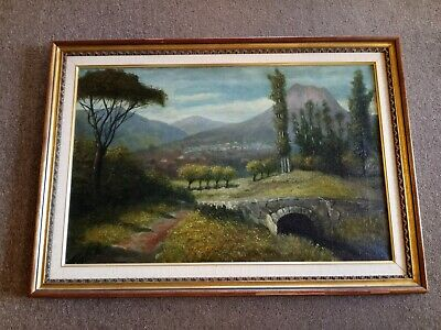$180 • Buy LANDSCAPE Oil Painting ESTATE Boston, MA CANVAS Unsigned 1900's