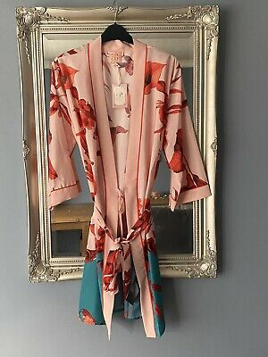 £7.50 • Buy Pretty Size 8 - 10 Ted Baker Pink Floral Kimono Dressing Gown