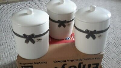 £6 • Buy White, Grey Bow Next Tea, Coffee, Sugar Ceramic Cannisters.
