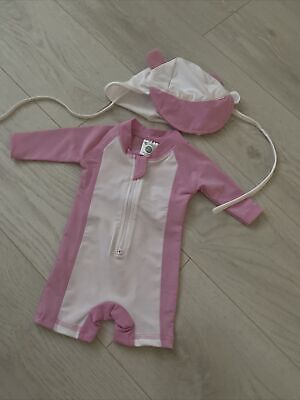 £1 • Buy Baby Girl Swimsuit / Sun Suit With Matching Hat 0-3 Months NEW