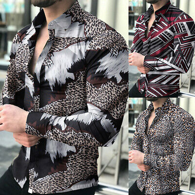 $16.99 • Buy Mens Printed Long Sleeve Blouse Party Casual Button Down Slim Fit Shirts Tops US