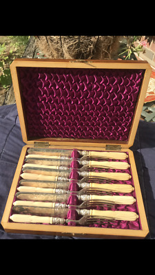 £80 • Buy Antique Early 20th C  Set Of 6 Knives And Forks Carved Decoration And Boxed