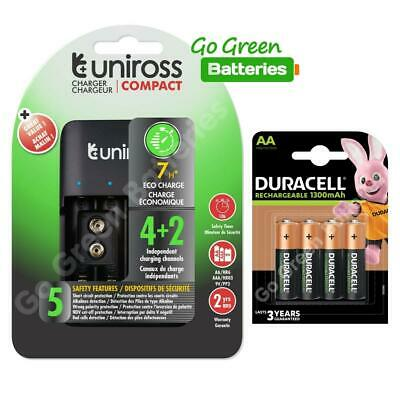 £13.99 • Buy USB Rechargeable Uniross Battery Charger AA 9V AAA + Duracell AA 1300mAh 4 Pack