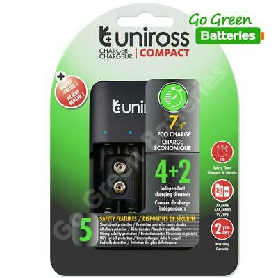 £8.99 • Buy  USB Rechargeable Battery Charger AA AAA 9v PP3 Batteries Uniross NiMH Compact