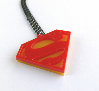 £3.62 • Buy Superman Necklace Laser Cut Yellow And Red Plastic