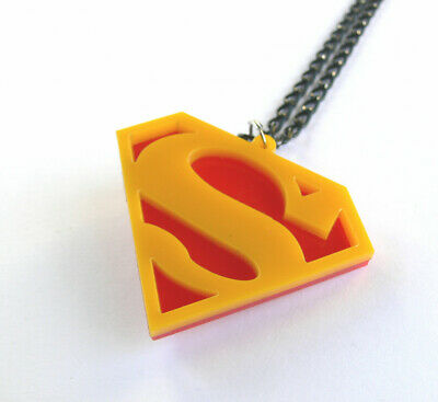 £3.62 • Buy Superman Necklace Laser Cut Red And Yellow Plastic