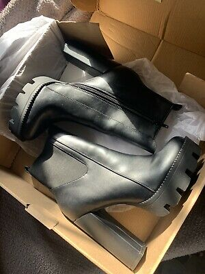 £20 • Buy Boohoo Cleated Black Leather Chunky Platform Chelsea Heel Boots Size 5 With Box