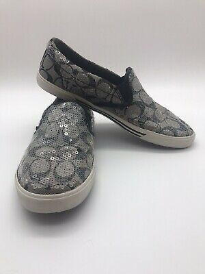 $18 • Buy COACH SHOES. KIVY Slip On. Monogram, All-over Clear Sequins. 8B. Taupe / Gray.