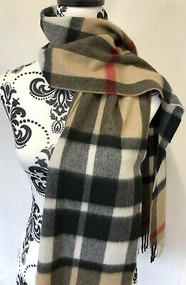 £39.99 • Buy 100% Pure Cashmere Scarf By Joshua Ellis, Camel Thompson Check, Made In England