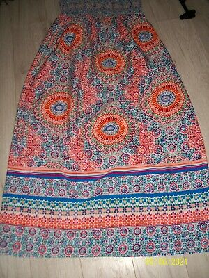 £3.39 • Buy Ladies Colourful Strapless Maxi Length Summer Dress Size 16-Peacocks
