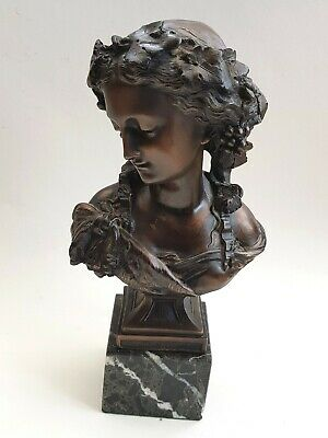 £59 • Buy Vintage-Repro Bronzed Metal Bust Statue Of Neo Classical Grecian Goddess/Lady