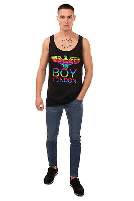 £0.99 • Buy BOY LONDON Vest Top Size M Coated Front Raw Edges Dipped Hem Made In Italy