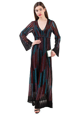 AU92.22 • Buy RRP€1035 M MISSONI Knitted Maxi A-Line Dress Size 40 S Inner Slip Textured Lame