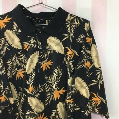 £17.99 • Buy 90s Polo Shirt With Abstract Tropical Print Mens Size XL