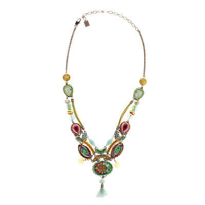£21 • Buy RRP €420 AYALA BAR Collar Necklace HANDCRAFTED Beaded Embellished Tassel Charm
