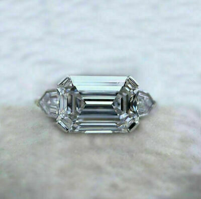 AU109.99 • Buy 14K Yellow Gold FN 3Ct East West Emerald Cut Diamond Three-Stone Engagement Ring