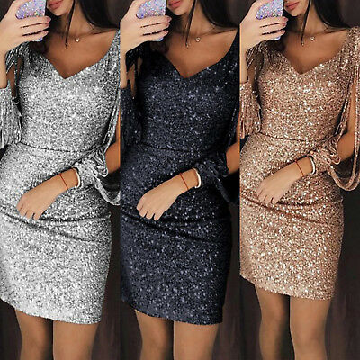 AU21.49 • Buy Womens Sexy V Neck Sequin Mini Dress Ladies Evening Party Bodycon Dresses Gown